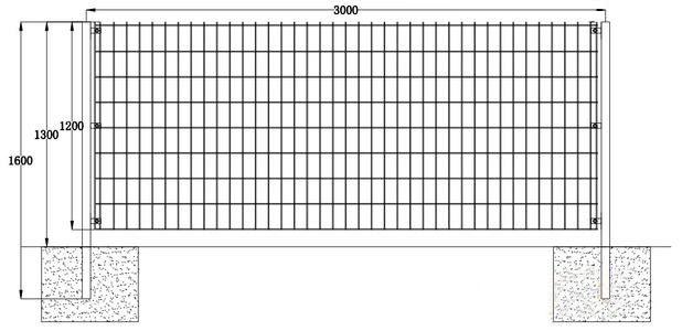 直立型双边丝护栏网规格安装图纸案例